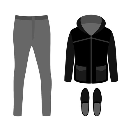 mens: Set of trendy mens clothes with parka, pants and moccasins. Mens wardrobe. Vector illustration