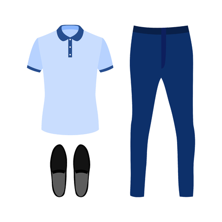 mens: Set of trendy mens clothes with polo shirt, jeans and moccasins. Mens wardrobe. Vector illustration