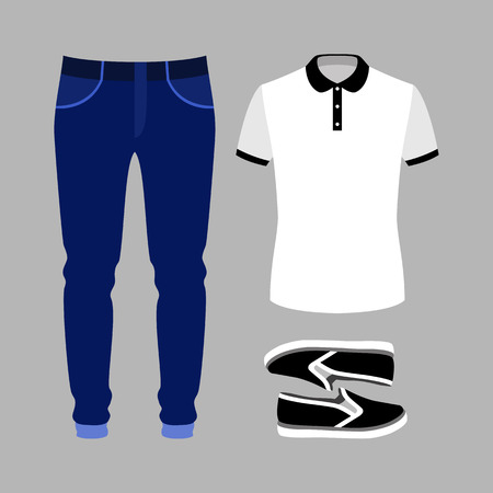 men's: Set of trendy mens clothes with polo shirt, jeans and slip on. Mens wardrobe. Vector illustration Illustration