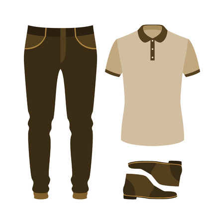 Set of trendy mens clothes with polo shirt, jeans and desert. Mens wardrobe. Vector illustration Иллюстрация