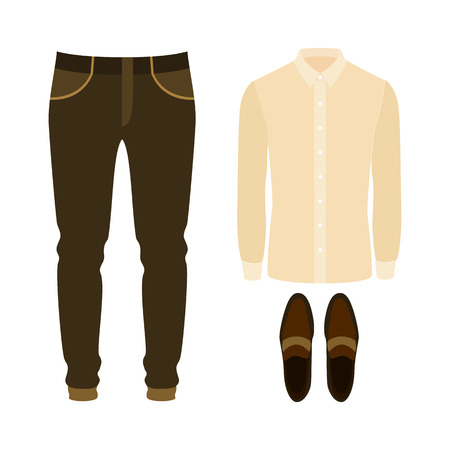 Set of trendy mens clothes with shirt, pants and loafers. Mens wardrobe. Vector illustration