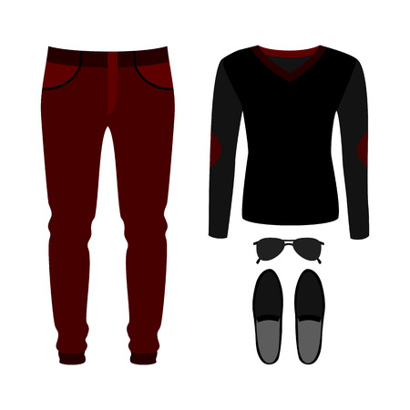 men's: Set of trendy mens clothes with pants, pullover and accessories. Mens wardrobe. Vector illustration