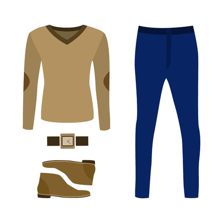 pullover: Set of trendy mens clothes with pants, pullover and accessories. Mens wardrobe. Vector illustration