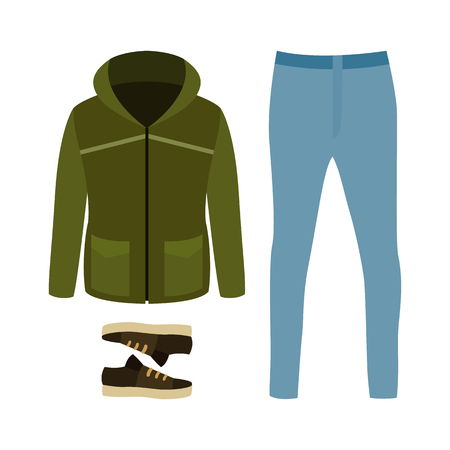Set of trendy mens clothes with parka, jeans and sneakers. Mens wardrobe. Vector illustration