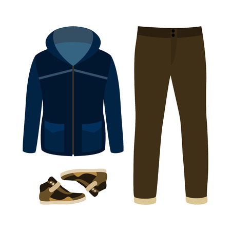 parka: Set of trendy mens clothes with parka, jeans and sneakers. Mens wardrobe. Vector illustration