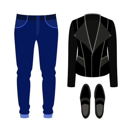 black men: Set of trendy mens clothes with rocker jacket, jeans and loafers. Mens wardrobe. Vector illustration Illustration