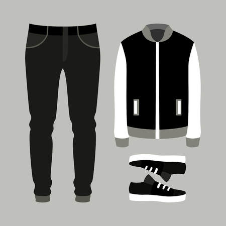 fashionable: Set of trendy mens clothes with pants, jacket and sneakers. Mens wardrobe. Vector illustration