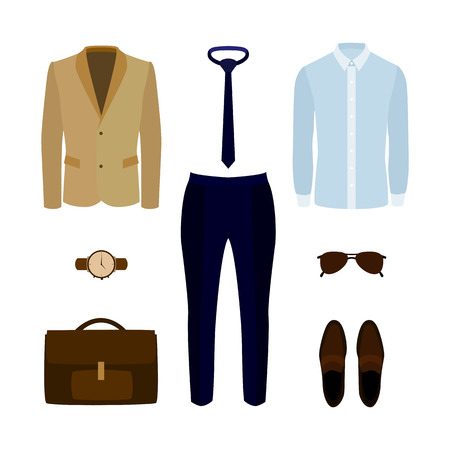 men's: Set of trendy mens clothes with pants, shirt, jacket and accessories. Mens wardrobe. Vector illustration