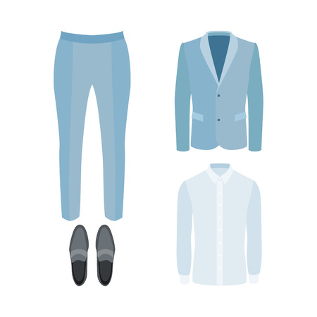 mens: Set of trendy mens clothes with pants, shirt, jacket and loafers. Mens wardrobe. Vector illustration