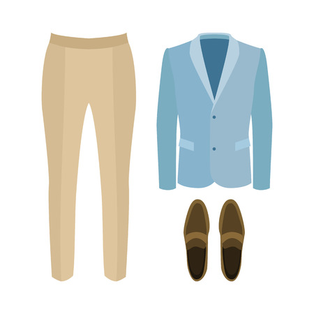 men's: Set of trendy mens clothes with pants, jacket and loafers. Mens wardrobe. Vector illustration