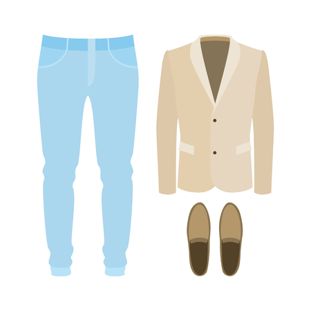 moccasins: Set of trendy mens clothes with pants, jacket and moccasins. Mens wardrobe. Vector illustration
