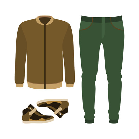 Set of trendy mens clothes with pants, jacket and sneakers. Mens wardrobe. Vector illustration