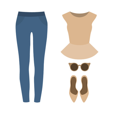 frill: Set of  trendy womens clothes with jeans, peplum top and accessories.Womens wardrobe. Vector illustration