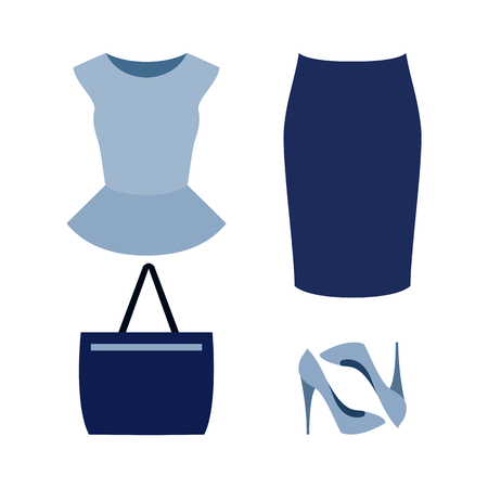 skirt suit: Set of  trendy womens clothes with blue skirt, top and accessories.Womens wardrobe. Vector illustration