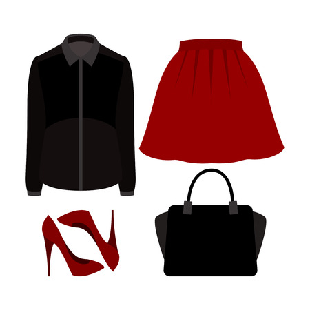 frill: Set of  trendy womens clothes with skirt, blouse and accessories.Womens wardrobe. Vector illustration Illustration