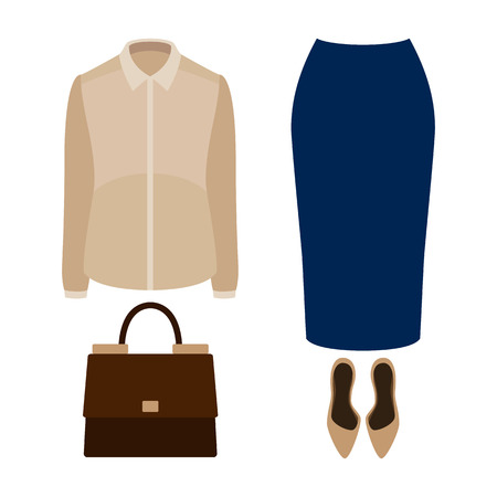 suit skirt: Set of  trendy womens clothes with blue skirt, blouse and accessories.Womens wardrobe. Vector illustration