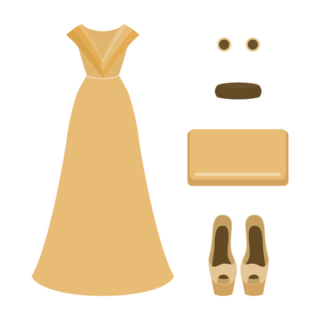 outfit: Set of  trendy womens clothes. Outfit of woman evening dress with accessories. Womens wardrobe. Vector illustration