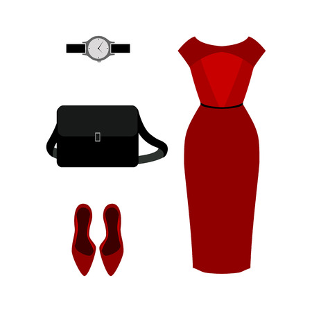 red dress: Set of  trendy womens clothes. Outfit of red woman dress with accessories. Womens wardrobe. Vector illustration