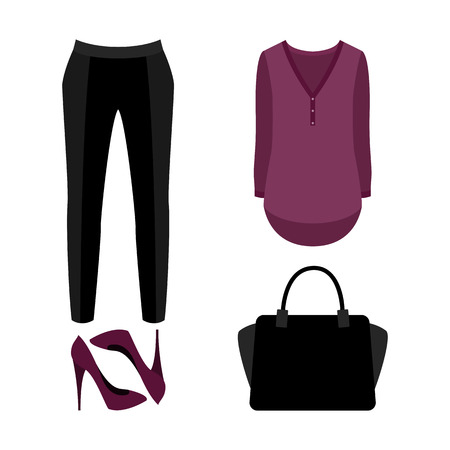bragas: Conjunto de ropa de mujer de moda. Traje de bragas de mujer, blusa y accesorios. armario de la mujer. ilustración vectorial Vectores