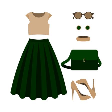 Ensemble de vêtements pour femmes à la mode avec jupe verte, en haut et la garde-robe de accessories.Women. Vector illustration Vecteurs