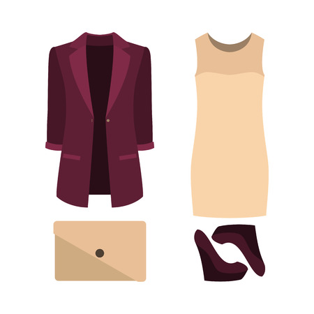 outfit: Set of  trendy womens clothes. Outfit of woman dress, jacket and accessories. Womens wardrobe. Vector illustration
