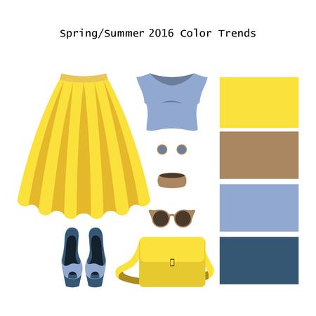falda: Conjunto de ropa de mujer de moda. Traje de la mujer falda, blusa y accesorios. Springcolor paleta tendencias. ilustración vectorial Vectores