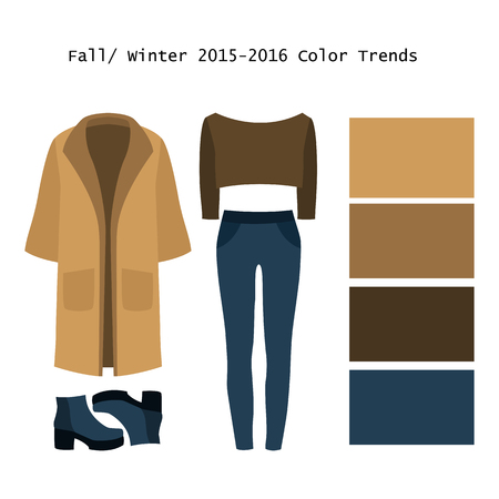 winter clothing: Set of trendy womens clothes. Outfit of woman coat, jeans, pullover and boots. Fullwinter color trends palette. Vector illustration