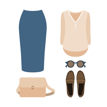 Set of  trendy womens clothes. Outfit of woman skirt, shirt and accessories. Womens wardrobe. Vector illustration