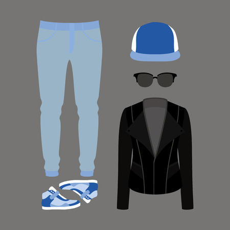 mens clothing: Set of  trendy mens clothes. Outfit of man jeans, rocker jacket and accessories. Mens wardrobe. Vector illustration