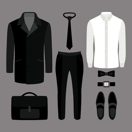 mens clothing: Set of  trendy mens clothes. Outfit of man coat, pants, shirt and accessories. Mens wardrobe. Vector illustration Illustration