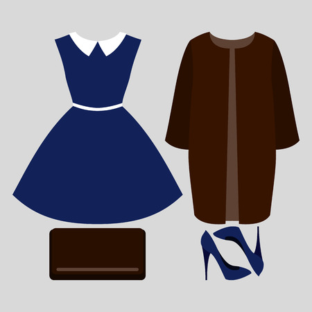 outfit: Set of trendy womens clothes. Outfit of woman coat, dress and accessories. Womens wardrobe. Vector illustration