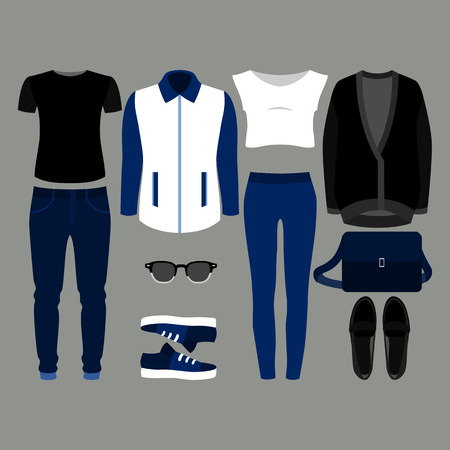 blazer: Set of  trendy clothes. Outfit of man and woman clothes and accessories. Vector illustration