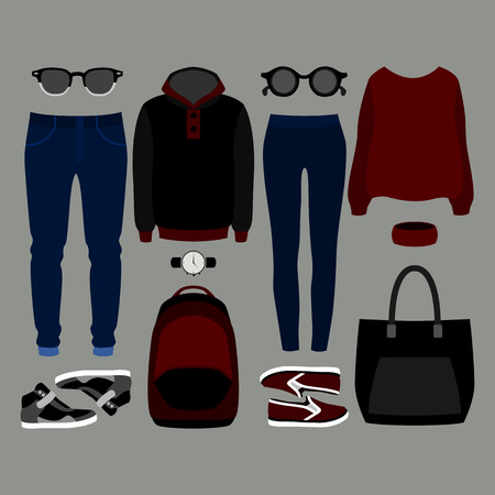 mens clothing: Set of  trendy clothes. Outfit of man and woman clothes and accessories. Vector illustration