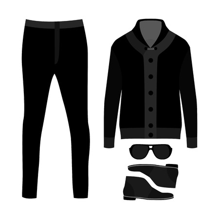 cardigan: Set of  trendy mens clothes. Outfit of man cardigan, pants and accessories. Mens wardrobe. Vector illustration