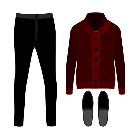 mens clothing: Set of  trendy mens clothes. Outfit of man cardigan, pants and accessories. Mens wardrobe. Vector illustration