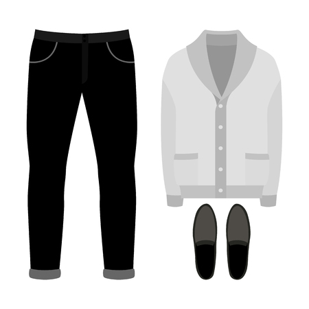 Set of  trendy mens clothes. Outfit of man cardigan, pants and accessories. Mens wardrobe. Vector illustration