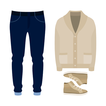 mens clothing: Set of  trendy mens clothes. Outfit of man cardigan, pants and sneakers. Mens wardrobe. Vector illustration