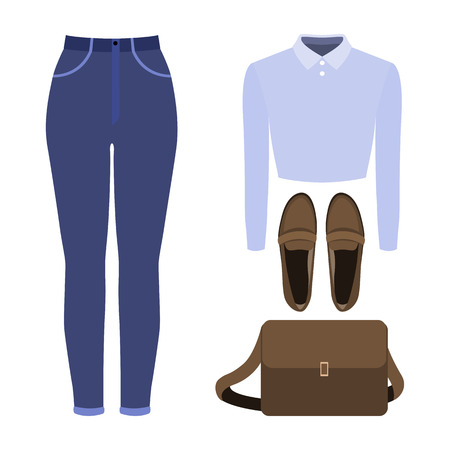 Set of trendy womens clothes. Outfit of woman jeans, blouse and accessories. Womens wardrobe. Vector illustration