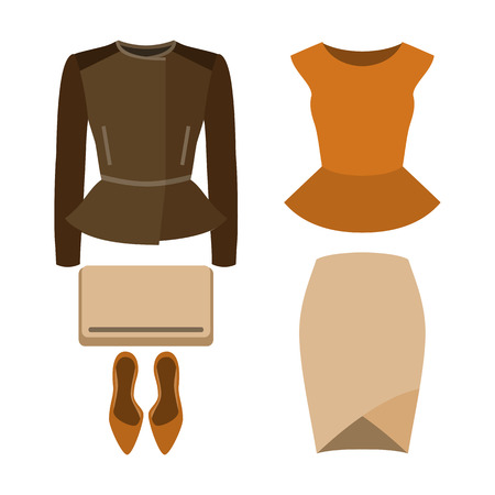 frill: Set of trendy womens clothes. Outfit of woman skirt, rocker jacket, blouse and accessories. Womens wardrobe. Vector illustration