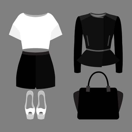 open toe: Set of trendy womens clothes. Outfit of woman shorts, rocker jacket, blouse and accessories. Womens wardrobe. Vector illustration