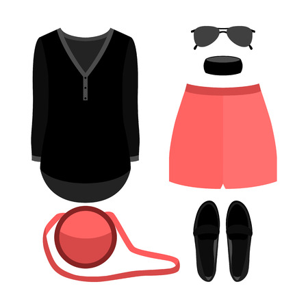 Set of trendy womens clothes. Outfit of woman shorts, shirt and accessories. Womens wardrobe. Vector illustration