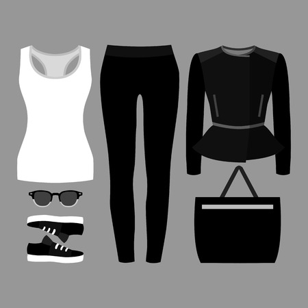 tank top: Set of trendy womens clothes. Outfit of woman jeans, jacket, tank top and accessories. Womens wardrobe. Vector illustration