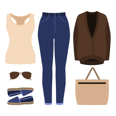 tank top: Set of trendy womens clothes. Outfit of woman jeans, cardigan, tank top and accessories. Womens wardrobe. Vector illustration
