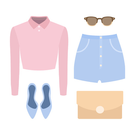 Set of trendy women's clothes. Outfit of woman shorts, shirt and accessories. Women's wardrobe. Vector illustration