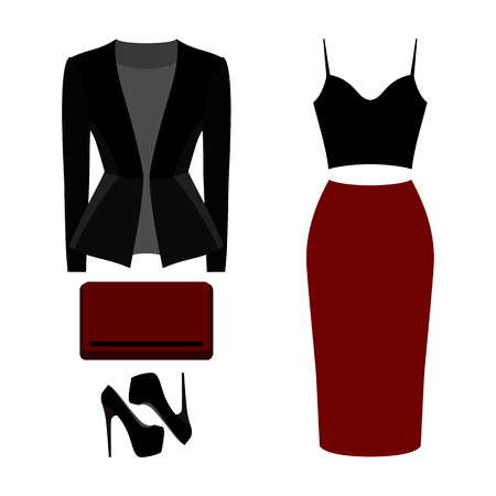 clutch: Set of trendy womens clothes. Outfit of woman skirt, jacket, top and accessories. Womens wardrobe. Vector illustration