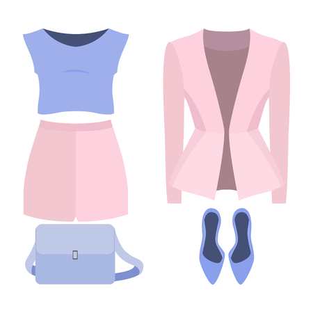 Set of trendy womens clothes. Outfit of woman shorts, jacket, blouse and accessories. Womens wardrobe. Vector illustration