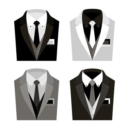 handkerchief: Set of  trendy mens clothes with jacket, vest, shirt, tie and handkerchief. Mens wardrobe. Vector illustration Illustration