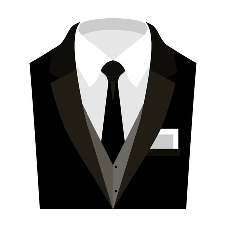 shirt and tie: Trendy mens clothes with jacket, vest, shirt, tie and handkerchief. Mens wardrobe. Vector illustration Illustration