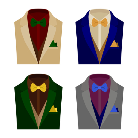 handkerchief: Set of  trendy mens clothes with jacket, vest, shirt, bow tie and handkerchief. Mens wardrobe. Vector illustration