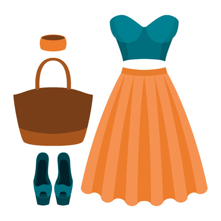 open toe: Set of trendy womens clothes. Outfit of woman skirt, bustiers top and accessories. Womens wardrobe. Vector illustration